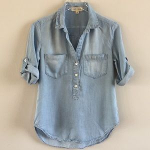 Anthropologie cloth & stone Chambray Henley Top XS